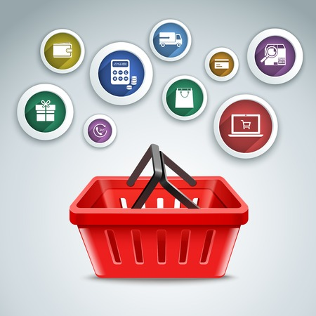 payment icon: Online delivery and c-commerce round icons set with shopping basket vector illustration.