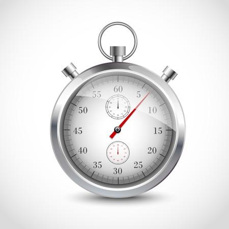 chronometer: Realistic metallic stopwatch sport chronometer isolated on white background vector illustration. Illustration