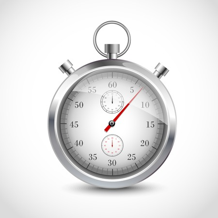 Realistic metallic stopwatch sport chronometer isolated on white background vector illustration. Illustration