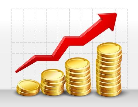 stack of cash: Realistas en d�lares 3d de dinero en efectivo las monedas de pila con la flecha en cuadrado de ilustraci�n de fondo vector.