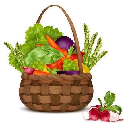 新鮮な野菜と有機食品白背景ベクトル イラスト上に分離されてバスケットで静物を設定