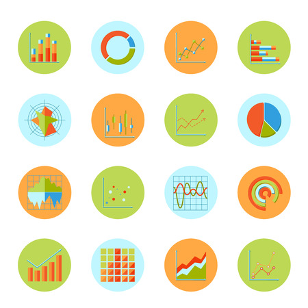 Business charts diagrams and graphs flat icons set isolated vector illustration