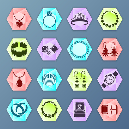 fashion jewelry: Jewelry accessories fashion hexagon icons set isolated vector illustration Illustration