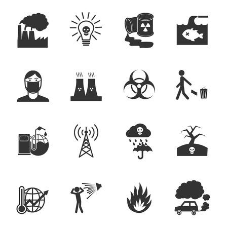 Vervuiling giftige milieu schade en verontreiniging geïsoleerd vector illustratie