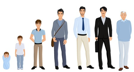 Different generation aging men set isolated on white background vector illustration Ilustrace