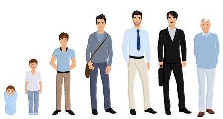 etapas de vida: Hombres de envejecimiento generaci�n diferente conjunto aislado sobre fondo blanco ilustraci�n vectorial