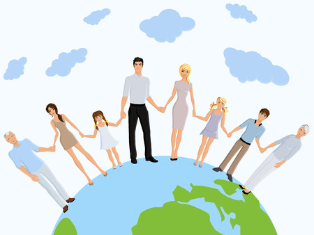 hands holding globe: Happy different generation family portrait on earth background vector illustration