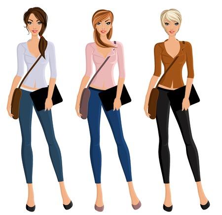 Joven estudiante de bellas muchachas felices fijó con los bolsos y retrato aislado dispositivo ilustración vectorial.