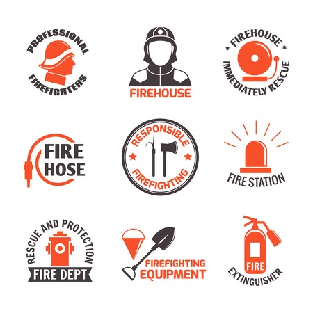 pracoviště: Hasičské profesionální štítek set hasičská zbrojnice okamžitě záchranná izolované vektorové ilustrace.