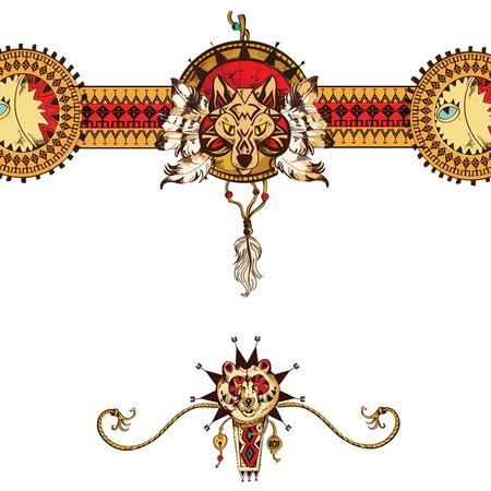 totem indien: Main coloré tribal dessiné arrière-plan avec le loup et porter animal totem traditionnel illustration vectorielle