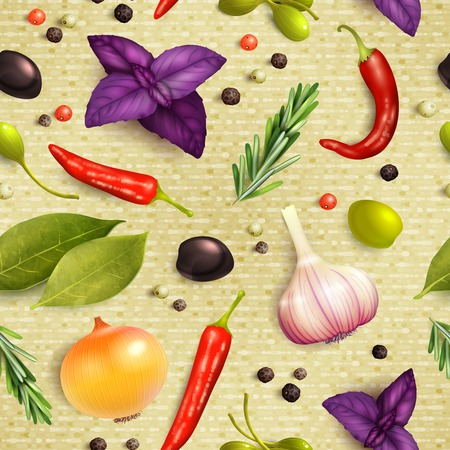 Herbs and spices decorative elements seamless pattern with rosemary onion garlic vector illustration Vector