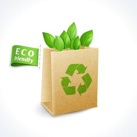 waste paper: Ecology and waste global environment recycling symbol paper bag isolated on white background vector illustration