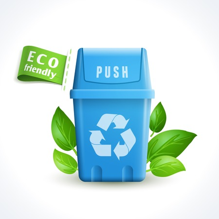 Ecology and waste global environment trash can with recycling symbol isolated on white background vector illustration Vector