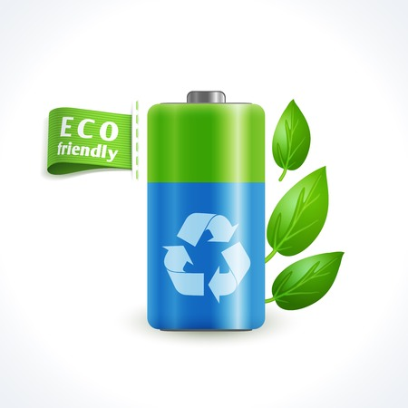 Ecology and waste global eco friendly battery with recycling symbol isolated on white background vector illustration Vector