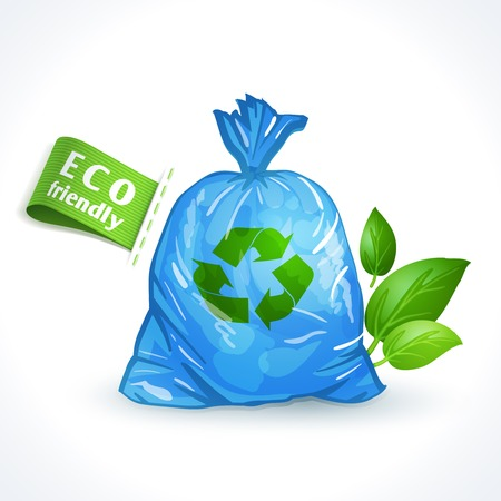 garbage bag: Ecology and waste global eco friendly plastic bag with recycling symbol isolated on white background vector illustration