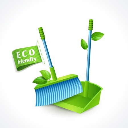 dustpan: Ecology and waste global eco friendly dustpan and brush symbol isolated on white background vector illustration Illustration