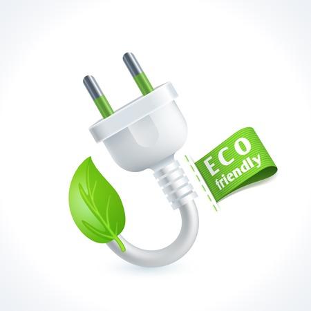 enchufe: Ecología y residuos símbolo de la clavija con la etiqueta ecológica amistosa aislado sobre fondo blanco ilustración vectorial