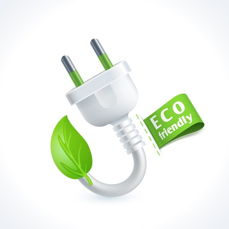 electric plug: Ecology and waste plug symbol with eco friendly tag isolated on white background vector illustration