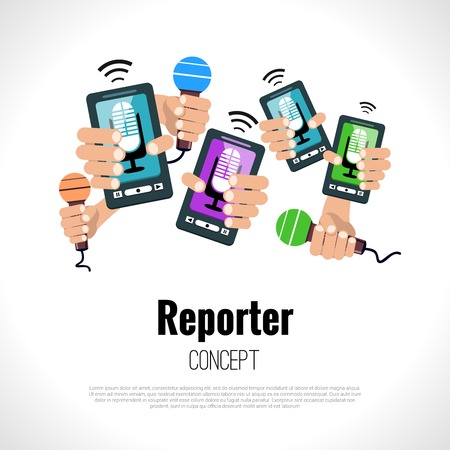 press conference: Journalist press conference media broadcasting reporter concept vector illustration Illustration