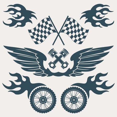 Motorcycle grunge design elements set of wings flags flame isolated vector illustration