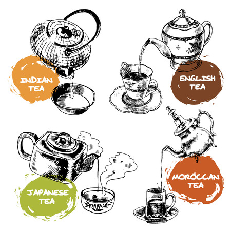 Decorative tea ceremony  ceramic china teapot and glass cup icons composition set doodle sketch isolated vector illustration