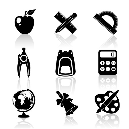 protractor: Black school education icons set of drawing compasses backpack calculator isolated vector illustration Illustration