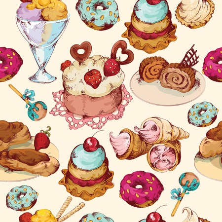 Food sweets bakery pastry ice cream and candies sketch colored seamless pattern vector illustration Vector