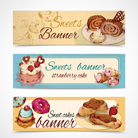 eclair: Food sweets bakery and pastry sketch colored banners set isolated vector illustration Illustration
