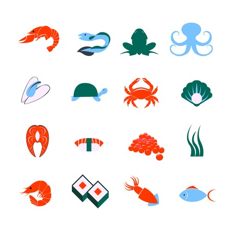 lobster: Decorative seafood squid lobster fish sushi pictograms and sea mollusks icons set flat abstract isolated vector illustration Illustration