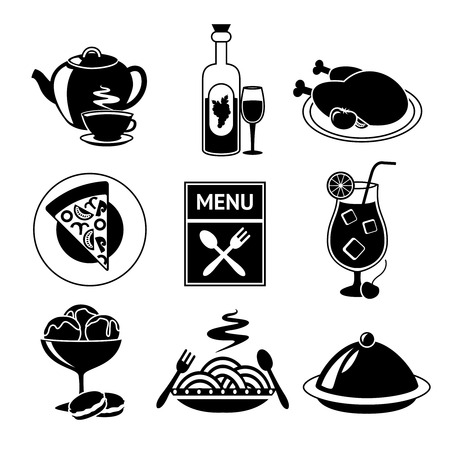 meat soup: Restaurant food drink menu decorative black and white icons set isolated vector illustration. Illustration