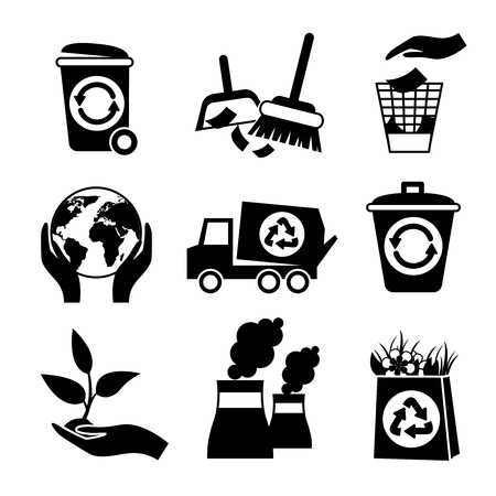 disposal: Ecology and waste black and white icons set of truck paper bag plant isolated vector illustration.