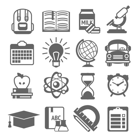 school website: Education knowledge science college and school black and white icons set isolated vector illustration Illustration