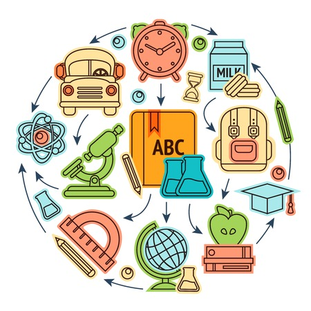 Education sketch icons set studying process concept vector illustration Vector