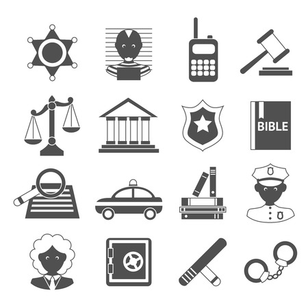 legislation: Law legal justice judge police and legislation black and white icons set isolated vector illustration Illustration