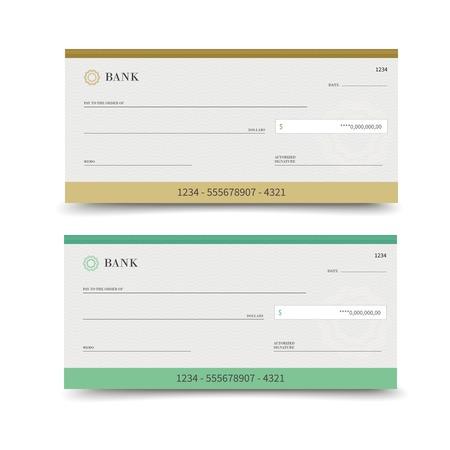 흰색 배경 벡터 일러스트 레이 션에 고립 현실적인 은행 수표 세트 일러스트