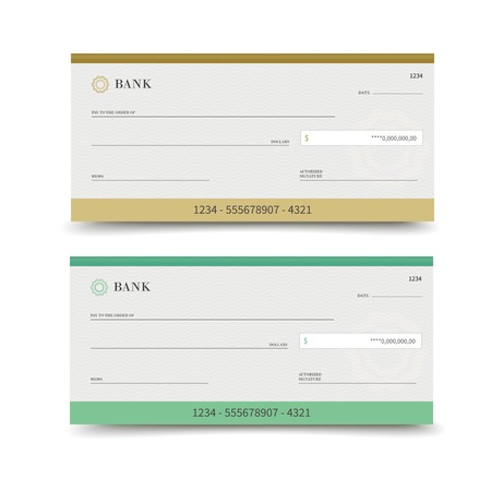 checkbook: Realista conjunto cheque bancario aislado en el fondo blanco ilustraci�n vectorial