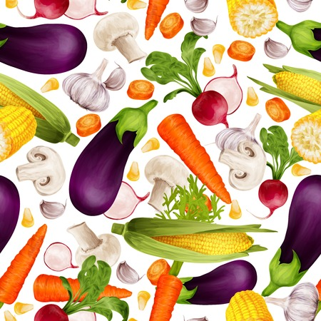 maize: Vegetable organic food realistic seamless pattern with cut carrot maize stalk aubergine vector illustration Illustration