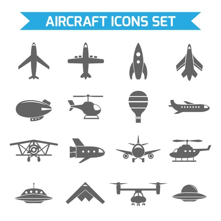 Aircraft helicopter military aviation airplane black icons set isolated vector illustration Vector