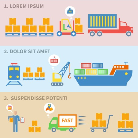 supply chain: Logistic delivery shipping flat icons set in isolated banners vector illustration