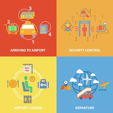 airport lounge: Business concept flat icons set with airport composition set of arriving security control lounge departure infographic design infographic design elements vector illustration