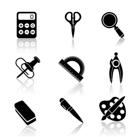 scissors icon: Black school education icons set of magnifier drawing compasses angle protractor isolated vector illustration.