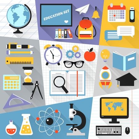 computer lab: School stationery education science e-learning flat set isolated vector illustration Illustration