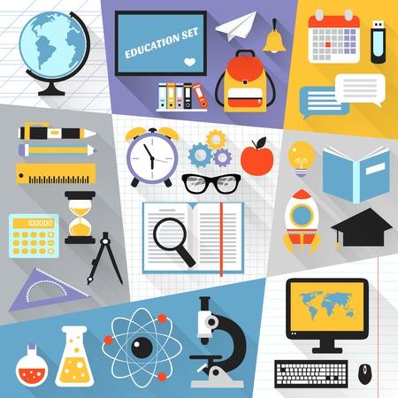School stationery education science e-learning flat set isolated vector illustration Illustration