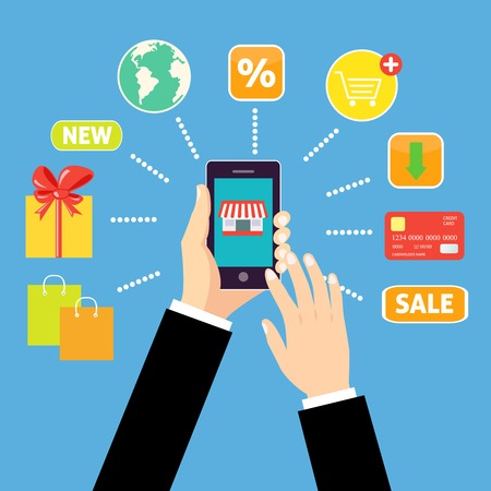 Online shopping concept with man holding smartphone and e-commerce icons vector illustration