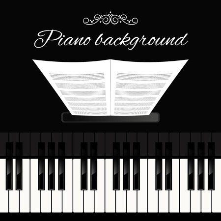 Music concert grand piano instrument keyboard background template vector illustration.