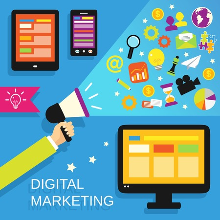 mobile marketing: Digital marketing concept with mobile gadgets and business icons set vector illustration.