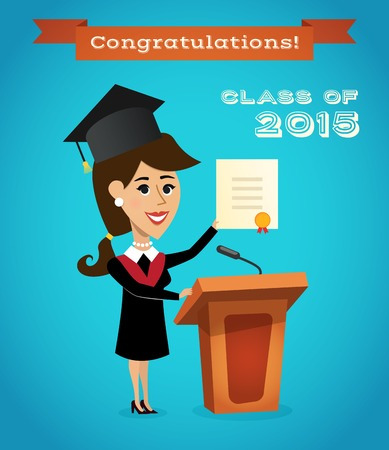 Graduating woman with graduation diploma near tribune with microphone vector illustration. Vector