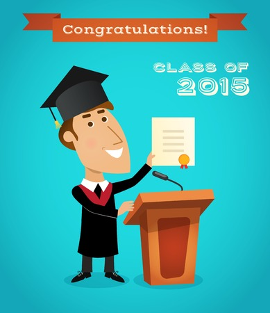 Graduating young man with graduation diploma near tribune with microphone vector illustration. Vector
