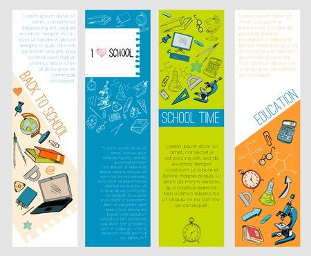 Four infographic school kids computer education accessories symbols icons vertical banners set flat sketch doodle vector illustration Illustration