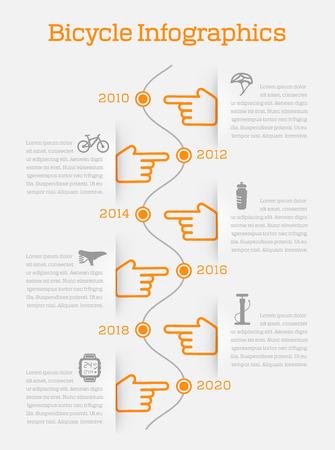 自転車要素とアクセサリーのアイコン ベクトル イラスト タイムライン ビジネス インフォ グラフィック